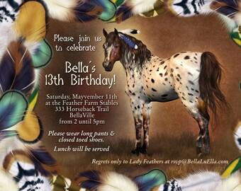 Horse Birthday Party Invitation, Horse Card, Party Invitations, Birthday Party Invitation