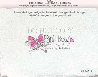 1243-3, pink bow logo, Premade Logo Design , sketch hand drawn bow logo ribbon love heart logo photography business logo boutique