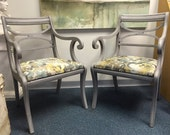 Set of Two Grey Vintage Chairs - Antique Paris Grey Chairs - Distressed Aged Look