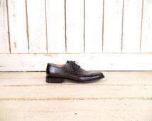 Vintage mens black leather oxfords/Wilke Rodriguez black leather shoes/10