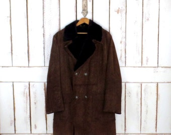 70s vintage heavy brown suede leather faux shearling sheepskin coat/suede belted winter jacket/rancher jacket