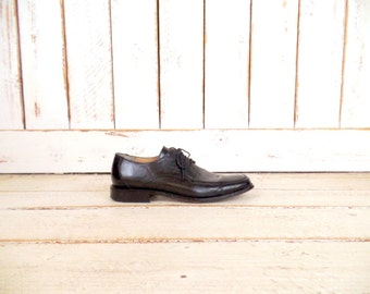 Vintage mens black leather oxfords/Wilke Rodriguez black leather shoes/10