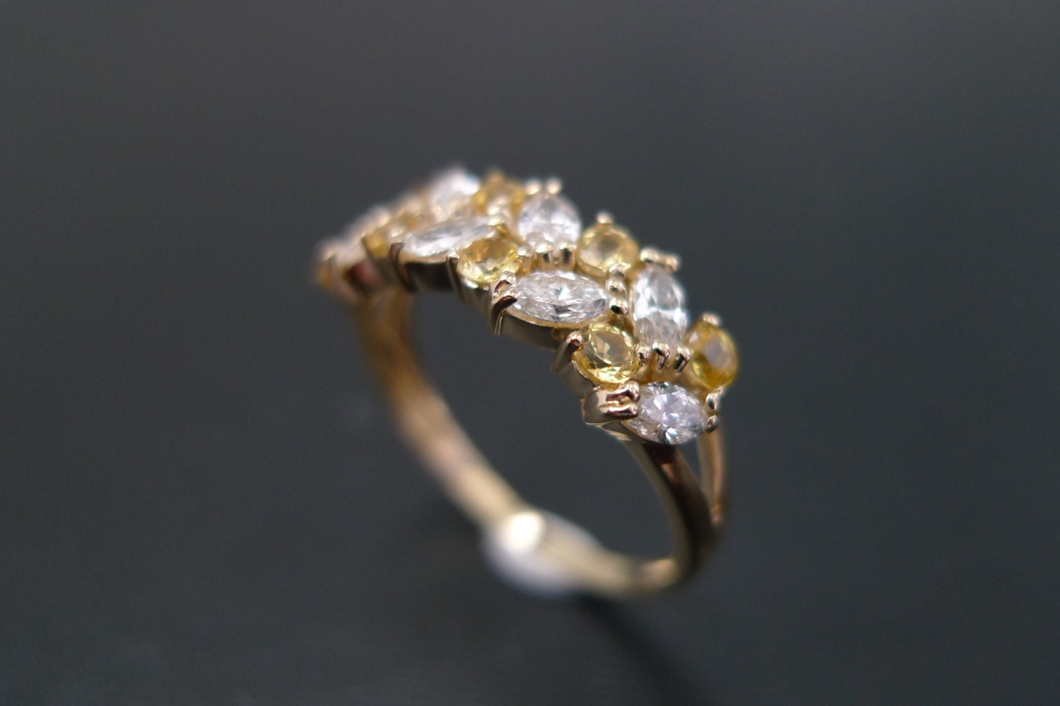 Marquise Diamond And Yellow Sapphire Wedding Ring In 14K Gold Band Jewelry