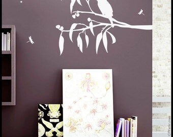 Kookaburra wall decal - Laughing Kookaburra Bird on a tree branch with leaves and fruits, dragonflies, stars, decor for kid, vinyl