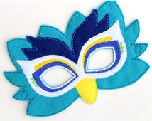 Kids Peacock Mask, Peacock Costume, Felt Mask,Kids Face Mask, Animal Mask, Halloween Costume, Pretend Play, Dress Up, Party Favors, Costume
