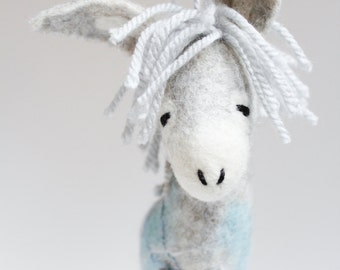 Felt Donkey - Gerard. Art Toy Felted toy Marionette Felted animal for kids Nursery decor Baby shower gift plush Animals. grey blue silver.
