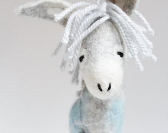 Gerard - Felt Donkey. Art Toy. Felted toy, Felted animal,  Felt Animals.  grey, light blue, silver, winter, snow. MADE TO ORDER