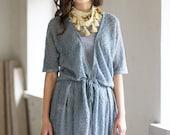 Linen Cardigan Light Gray Jacket Summer Cardigan Blue Gray Top Loose Dress Linen Middle Jacket Blue Linen Top