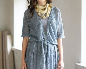 Linen Cardigan Light Gray Jacket Summer Cardigan Blue Gray Top Loose Dress Linen Middle Jacket Blue Linen Top