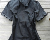 NEW Black Ribbon Trim Short Sleeve Shirt; SSRB02
