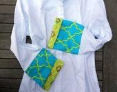 Bell Sleeve Shirt with Citrus Blue Green Quatrafoil;  LB11