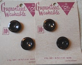 4 Vintage LE CHIC Western Germany Black Glass Buttons w/ Gold Trim on Original Card