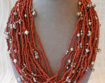 Coral Color Mulit-Strand Tribal Necklace Silver Bell Bead Accents    MBF7