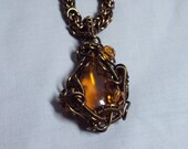 OOAK antique bronze wirewrapped natural amber necklace - byzantine chainmaille chain - adjustable length - art nouveau pendant
