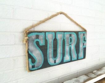 Surf Sign Handmade on Distressed Wood Turquoise Surfer Kids Room Surf Baby Nursery Surf Decor Surf Shack Beach Sign Beach Art Mangoseed