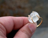 Raw Fluorite Ring, Raw Stone Ring, Stackable Gemstone Ring, Solitaire Ring, Gift For Her, Boho Chic Ring, Bohemian Jewelry, Solitaire Ring