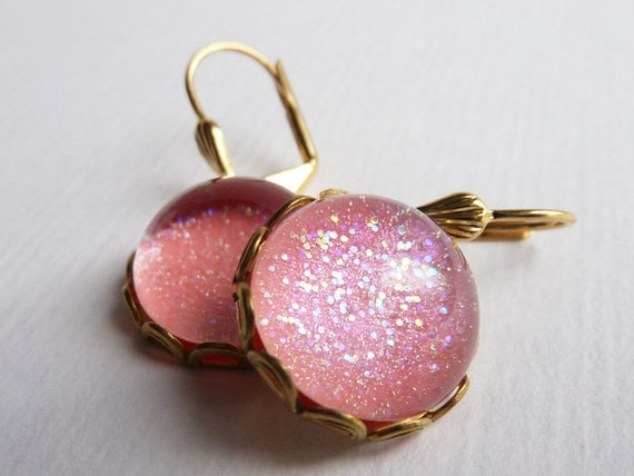 Pink Glitter Earrings, Holographic Glitter, Pink Sparkle Earrings, Pink and Gold, UK Etsy