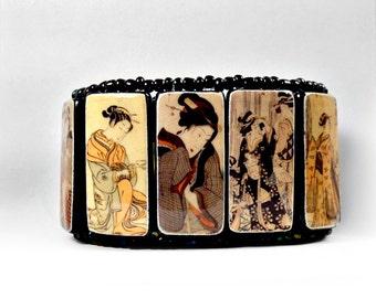 Geisha Dark Iridescent - Bamboo and Beads Cuff Bracelet