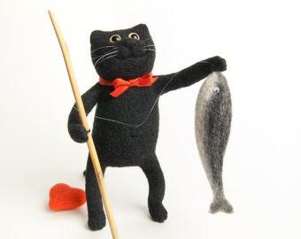 Fisherman Cat - Needle Felted Miniature - Black Cat