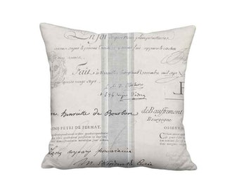 Grey French Country Famous France Signature Script Pillow Cover - 12x 14x 16x 18x 20x 22x 24x 26x 28x  Inch Linen Cotton Cushion