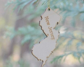 Natural Wood New Jersey State Ornament