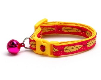 Feather Cat Collar - Yellow Bird Feathers on Bright Pink - Small Cat / Kitten Size or Large Size