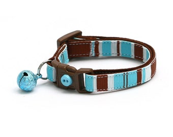 Striped Cat Collar - Brown, Blue, and White Stripes - Small Cat / Kitten Size or Large Size