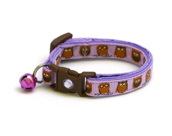 Owl Cat Collar - Little Brown Owls on Purple - Small Cat / Kitten Size or Large Size
