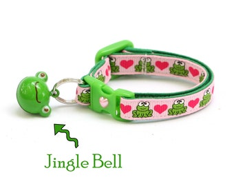 Frog Cat Collar - Frogs and Hears on Pink - Small Cat / Kitten Size or Large Size