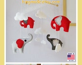 Baby Crib Mobile, Baby Mobile, Elephant Mobile, Modern Mobile, Clouds Cot Mobile, Red and Gray Elephants theme,Custom Mobile