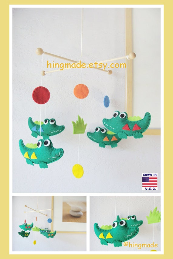 Baby Crib Mobile, Baby Mobile - Alligator Mobile, Baby Crocodile, Safari Swamp with Circles theme,Custom Mobile
