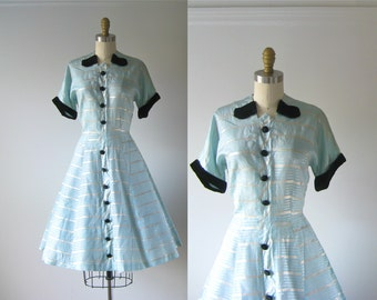 vintage 1950s dress / 50s dress / Ice Blue Dream