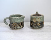 Vintage Japanese Creamer Sugar Set, Somaware Somayaki Double-Walled Ceramic, Sage Green, Gold Heart Cutout, Made in Japan, Crackle Glaze
