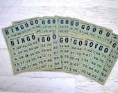 Vintage Bingo Card Lot of 20, 1950s Game Set, Scrapbook Notion, Game Night Supplies, Cardstock Typographic Paper Ephemera