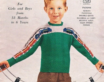 Vintage Knitting Patterns for Children's by Patons No.496