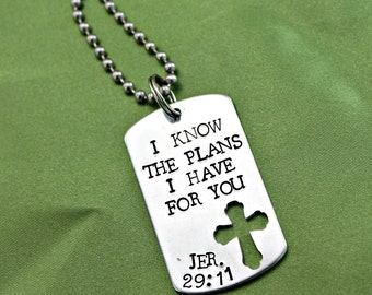 Jeremiah 29:11 hand stamped dog tag scripture necklace