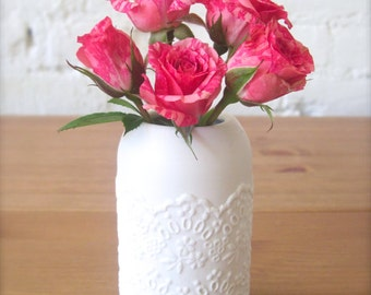 Lovely Porcelain Lace Small Flower Vase, Perfect  Gift for Flower Lover-Hideminy Lace Series