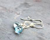 Blue Topaz Earrings December Birthstone Blue Gemstone Briolette Sterling Silver Dangle Earrings Teardrop