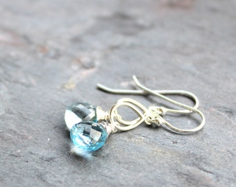 Blue Topaz Earrings December Birthstone Blue Gemstone Briolette Sterling Silver Dangle Earrings Teardrop