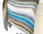 Winter Striped Triangle Scarf Wrap Prayer Shawl Free Shipping Christmas Gift Frozen Blue