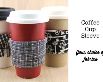 Reversible Coffee Cup Sleeve - Choose Custom Fabrics - Made to Order