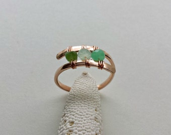 Chrysoprase Wire Ring, Rose Gold Wire Ring, Green Gemstone Ring, Wire Wrapped Chrysoprase Ring, Mint Green Ring, Chrysoprase Ring