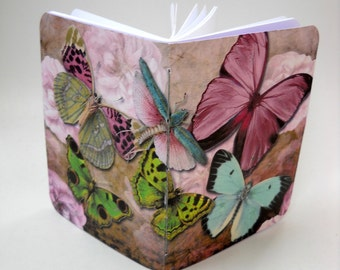 Peony and Butterflies Notebook, Softcover Butterfly Notebook, Pink and Blue Butterfly Notebook, Handmade Notebook