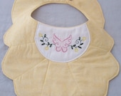 Baby Bib, Yellow with Embroidered Butterfly, Handmade
