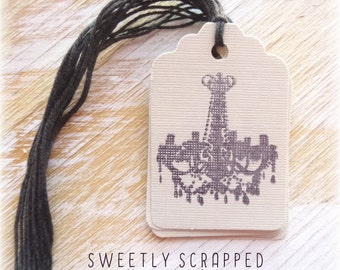 CHANDELIER Tags ..  Grey and Black, Shabby, SALE