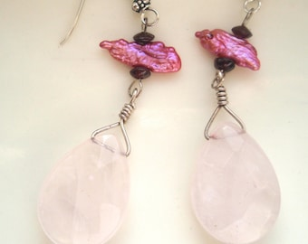 Rose Quartz and Pink Biwa Pearl Earrings, Pink Earrings, Rose Quartz Earrings, Sterling Silver Earrings