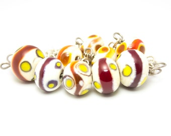 "16"" short lampwork glass necklace in ivory and red, sterling silver"