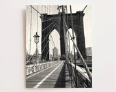 Brooklyn Bridge Photography - Black and White New York City Print - NYC Photo - Urban Home Decor - Manhattan Skyline Wall Art - Vertical