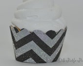Black and Silver Chevron Glitter Cupcake Wrappers - Standard Cupcake Wraps Set of 25