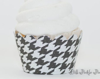 Black and Silver Houndstooth Glitter Cupcake Wrappers - Standard Cupcake Wraps Set of 25 - Alabama